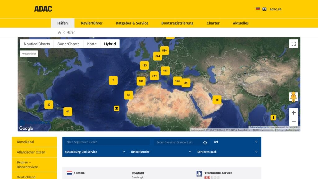 Screenshot des ADAC Marinaportals