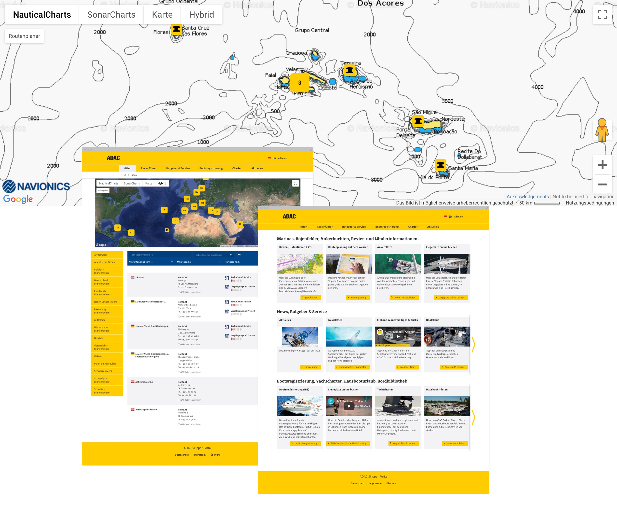 Screenshots des ADAC Marinaportals