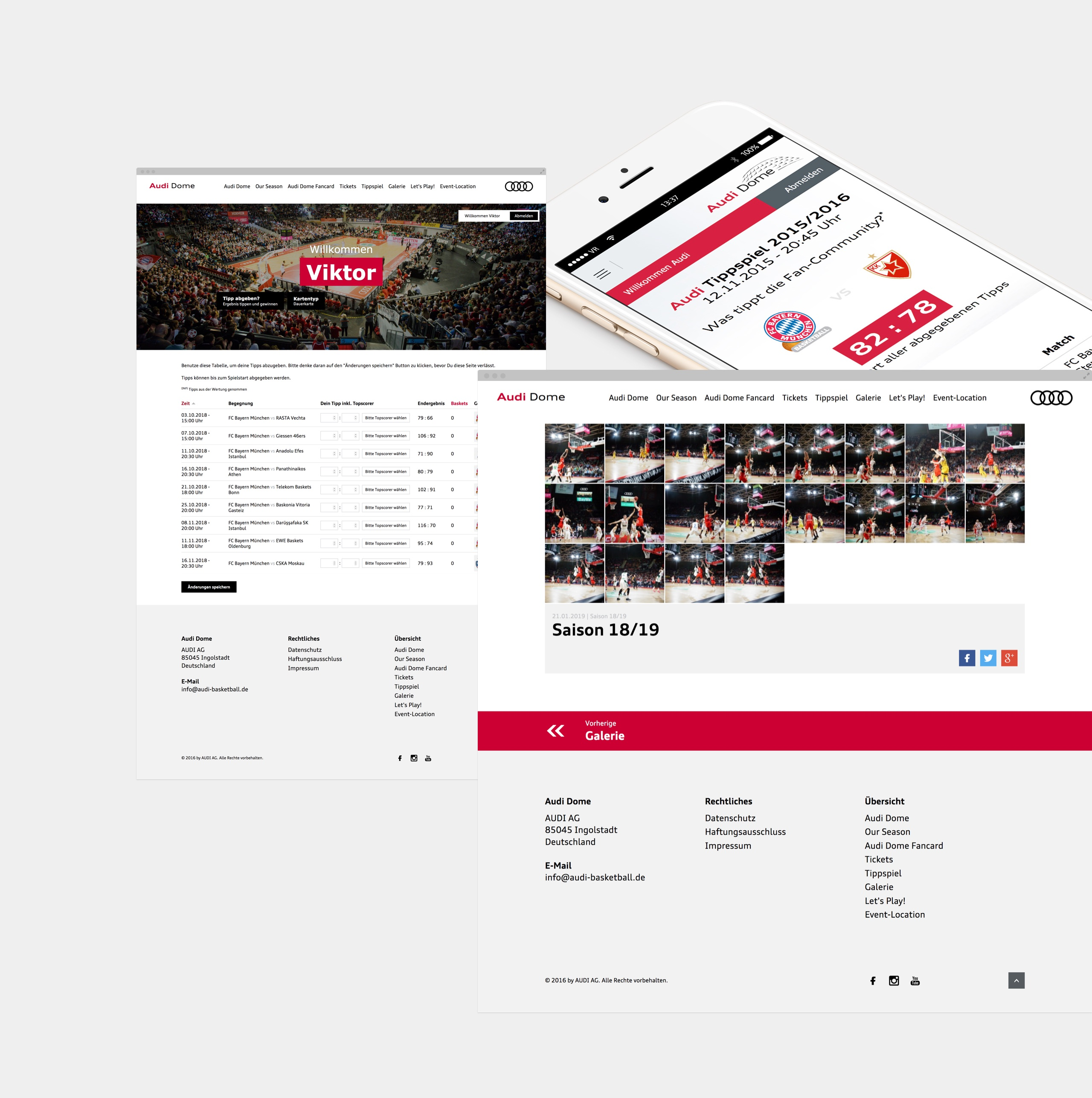 Screenshots der Webseite von Audi Dome
