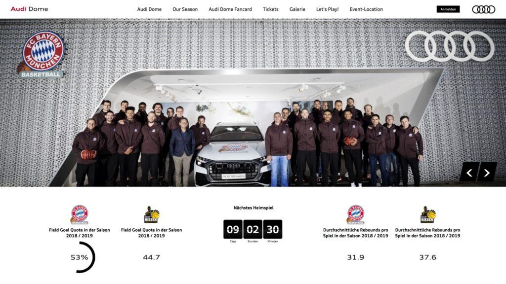 Screenshot der Webseite von Audi Dome
