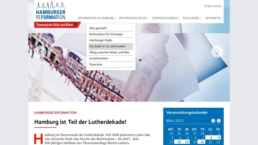 Screenshot der Webseite der Hamburger Reformation