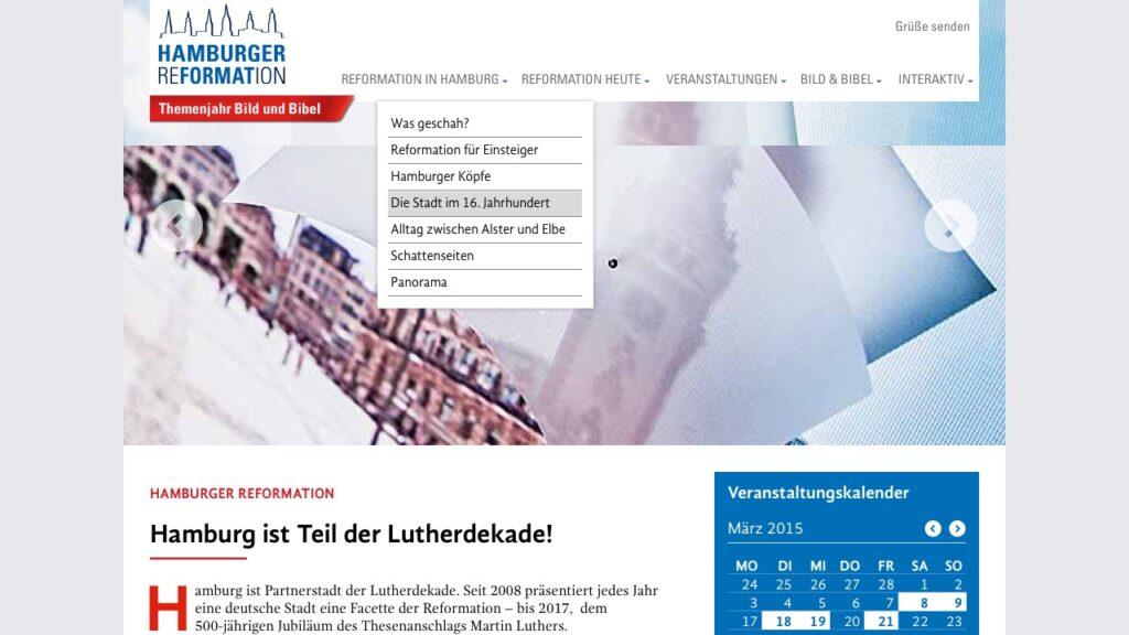 Screenshot der Webseite der Hamburger Reformation