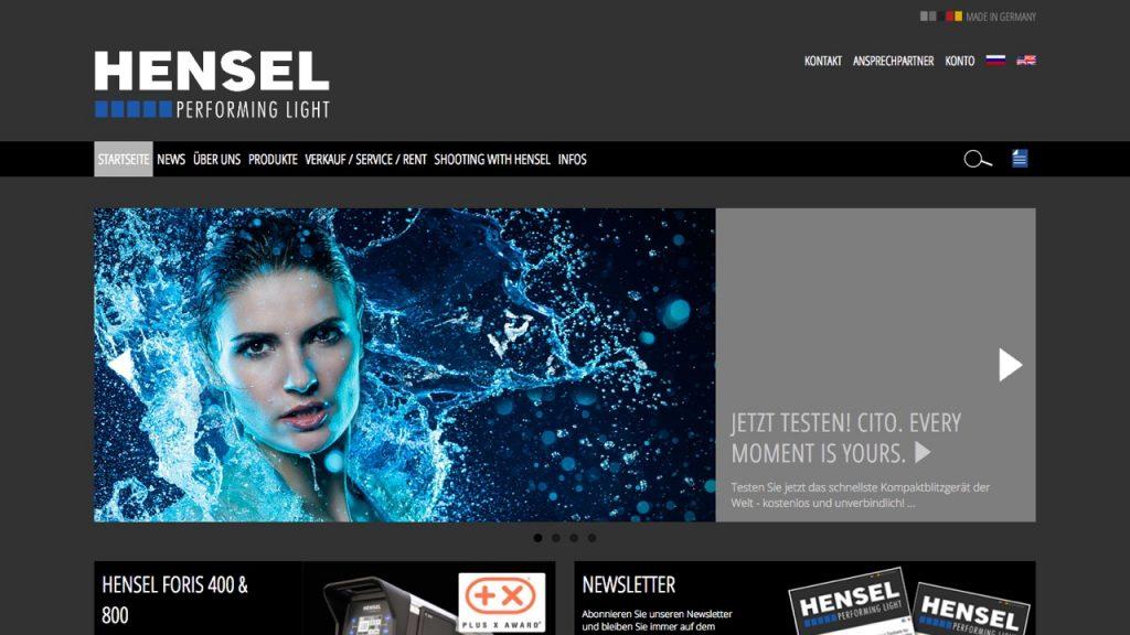 Hensel-Visit Screenshot der Startseite