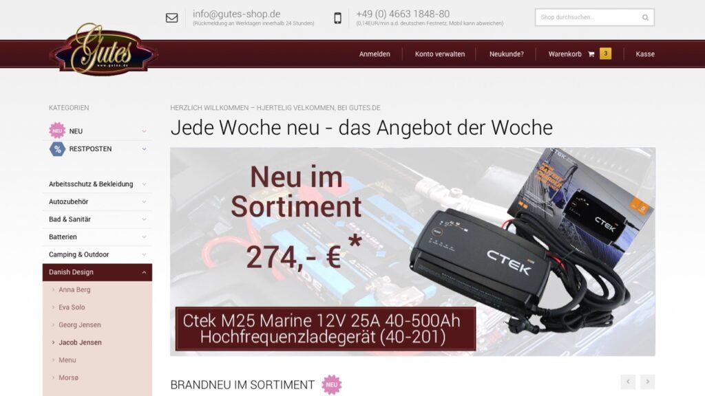 Screenshot des Gutes-Shop mit Magento 2.0