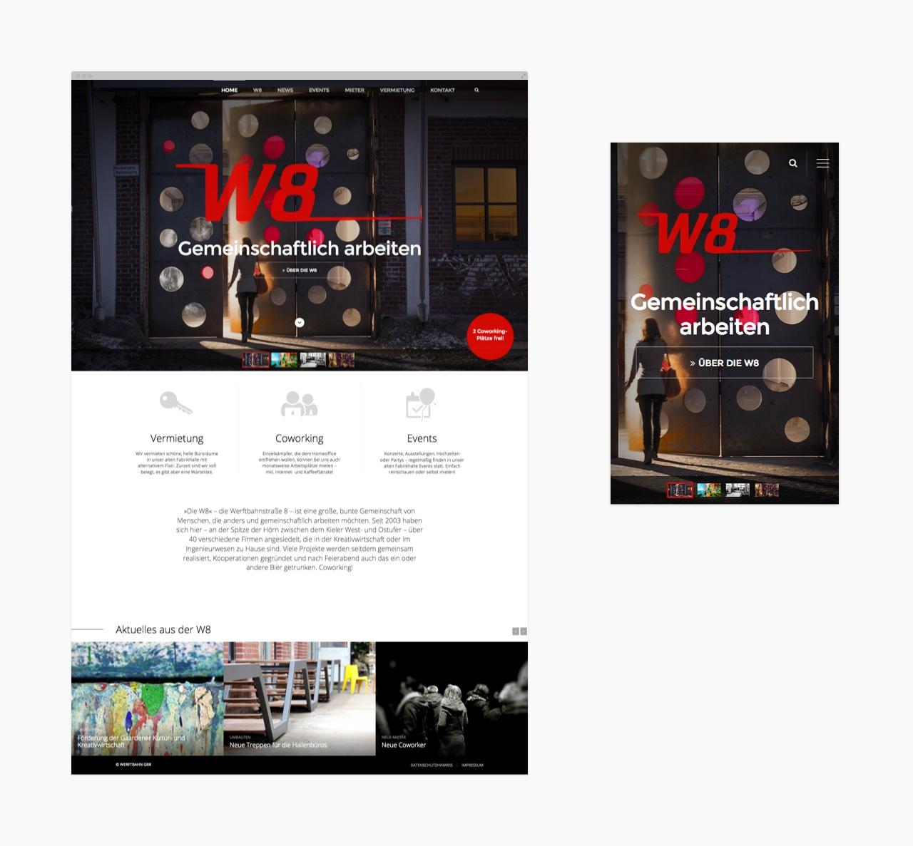 Startseite der W8-Homepage