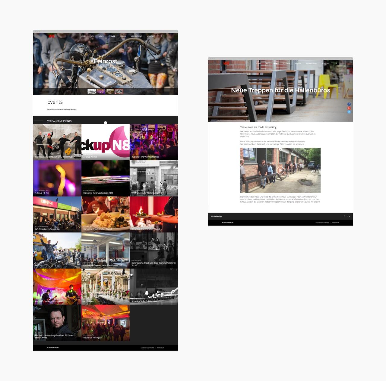 Veranstaltungsübersicht der W8-Webseite