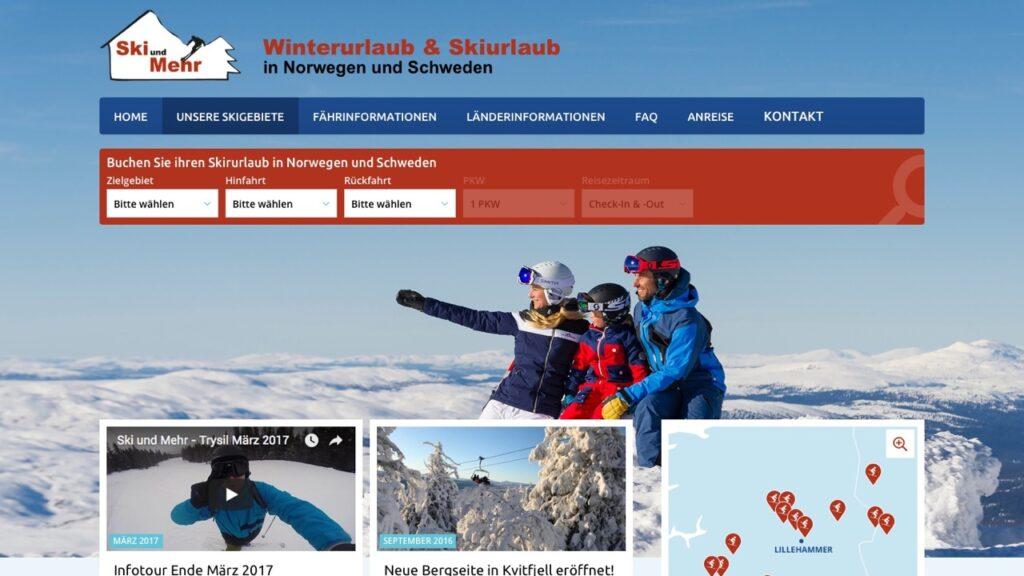 Screenshot der Ski-und-mehr-Webseite mit Drupal