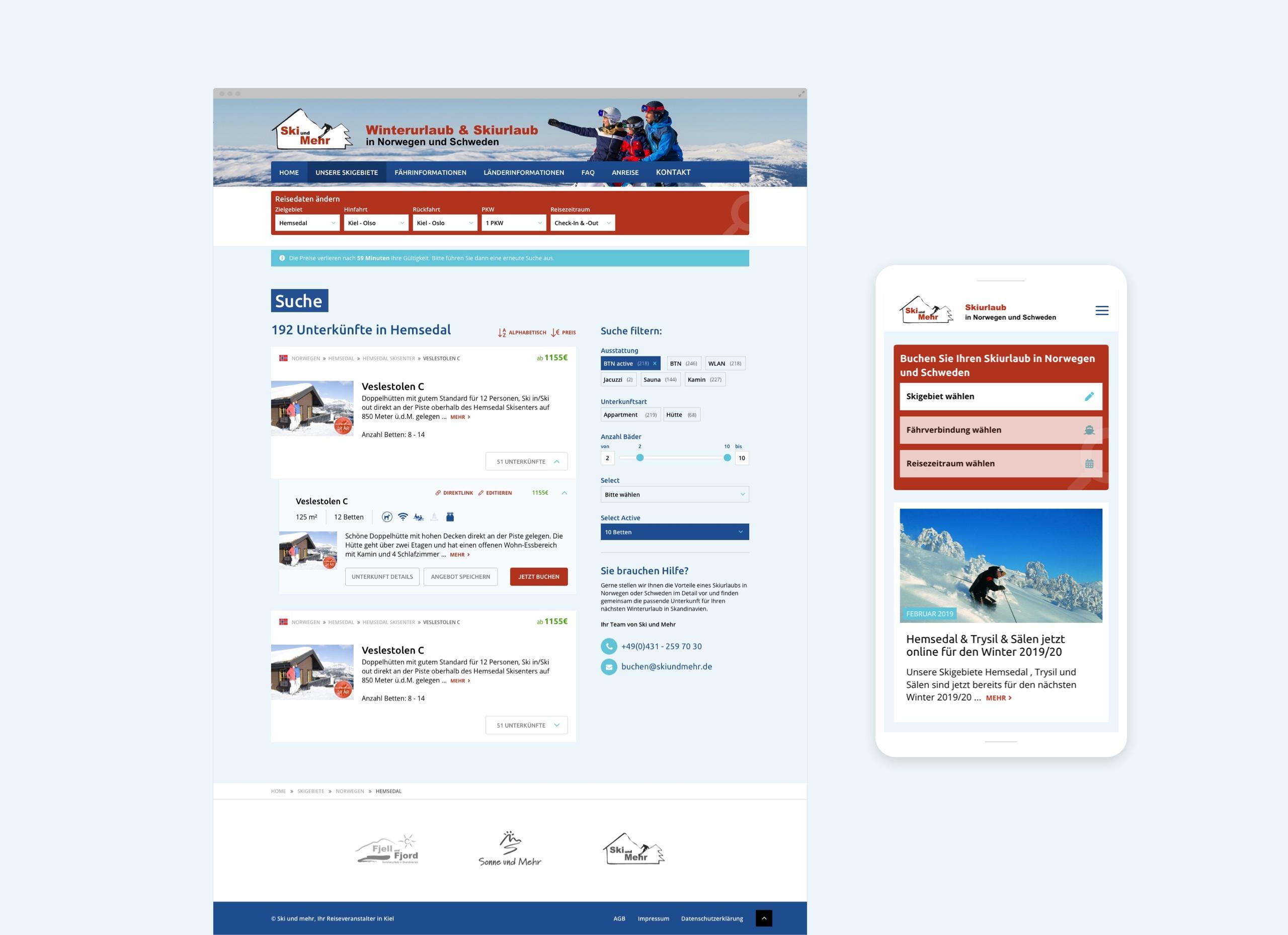 Screenshots der Ski-und-mehr-Webseite mit Drupal