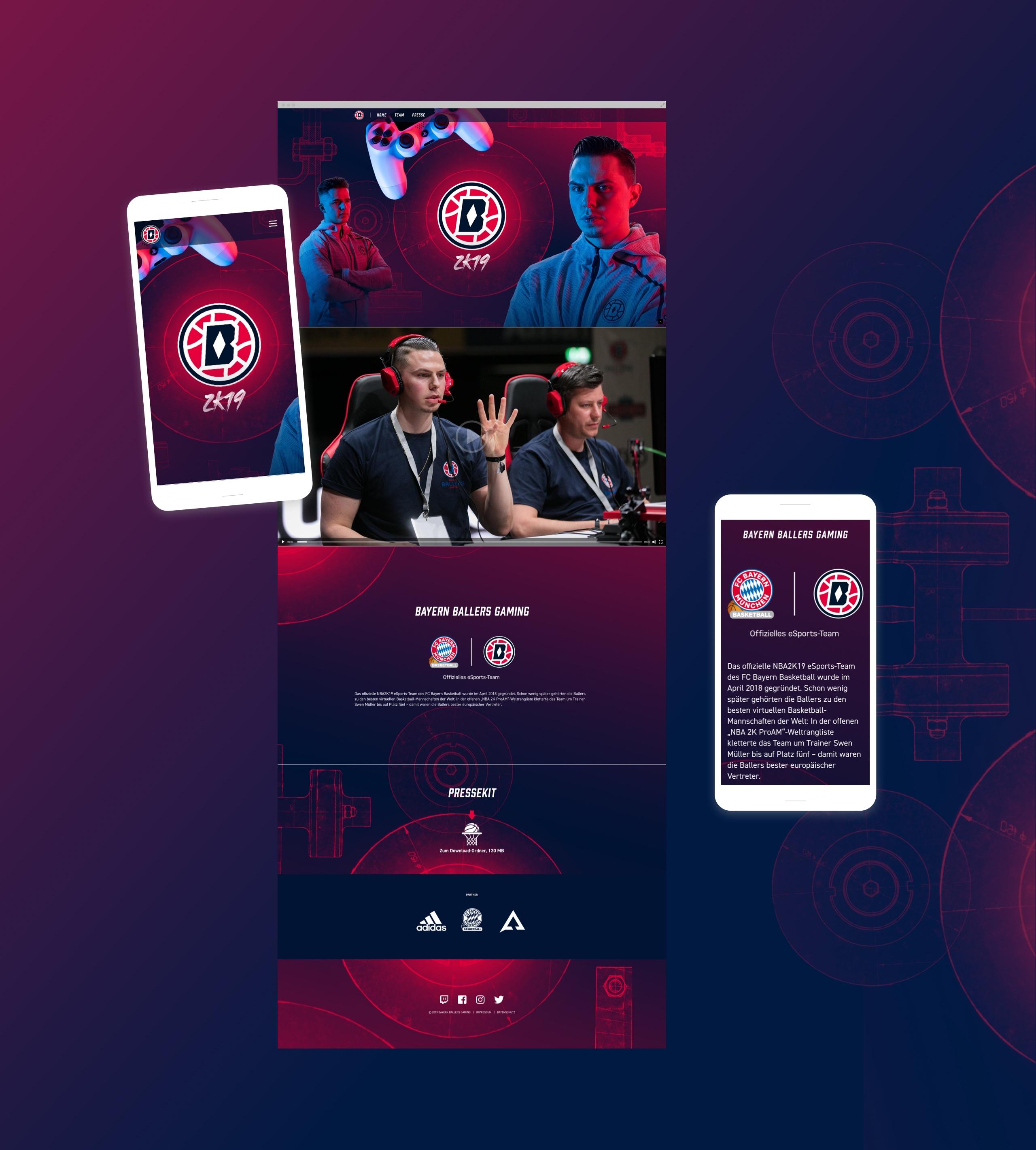Screenshots der Webseite von Bayern Ballers Gaming