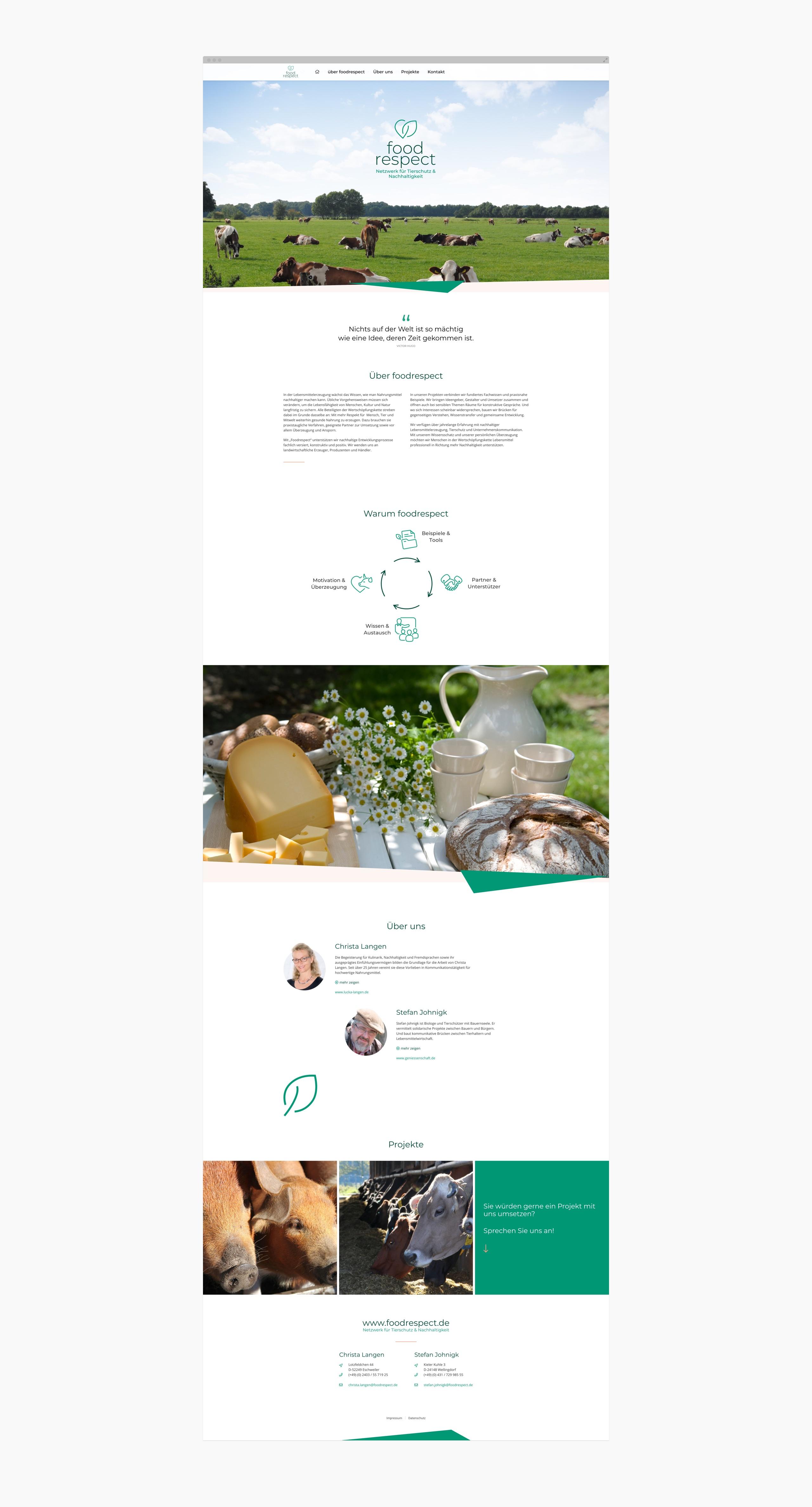 Screenshot der Webseite von foodrespect
