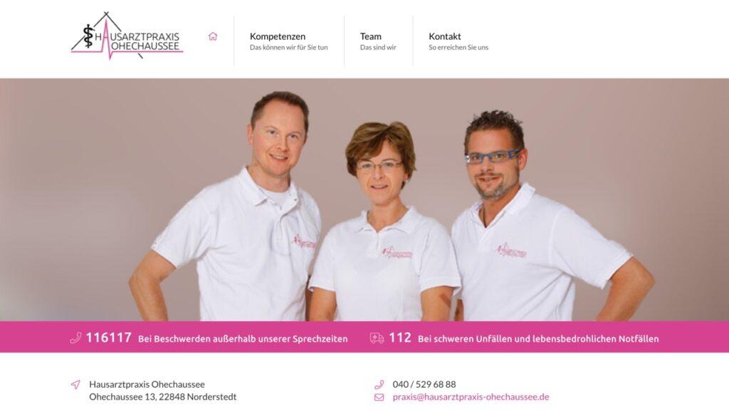 Screenshot der Webseite der Arztpraxis Ohechaussee