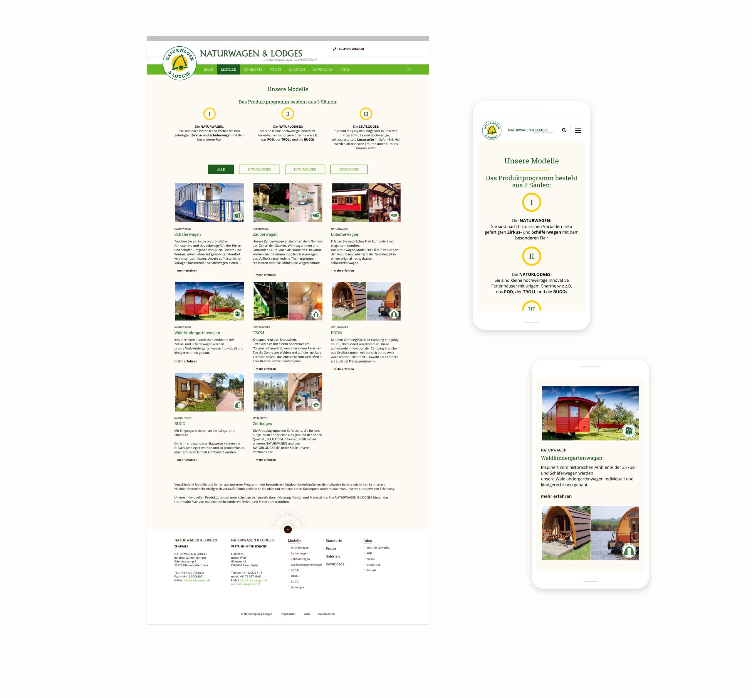 Screenshots der Webseite von Naturwagen und Lodges
