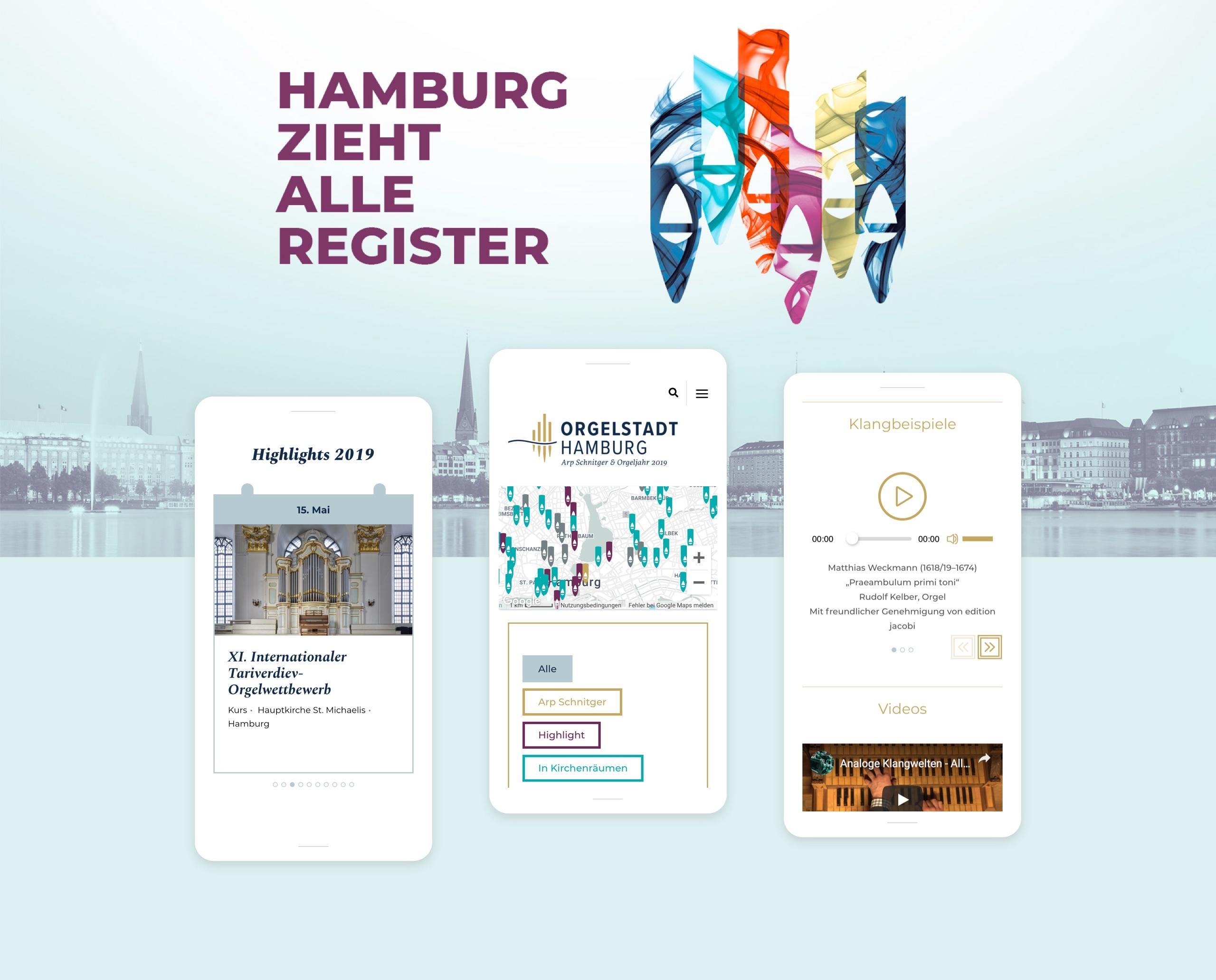 Screenshots der Webseite der Orgelstadt-Hamburg