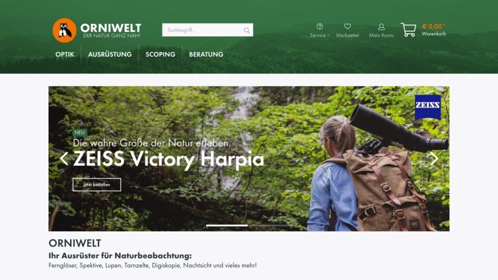 Screenshot des Orniwelt Onlineshops mit Shopware