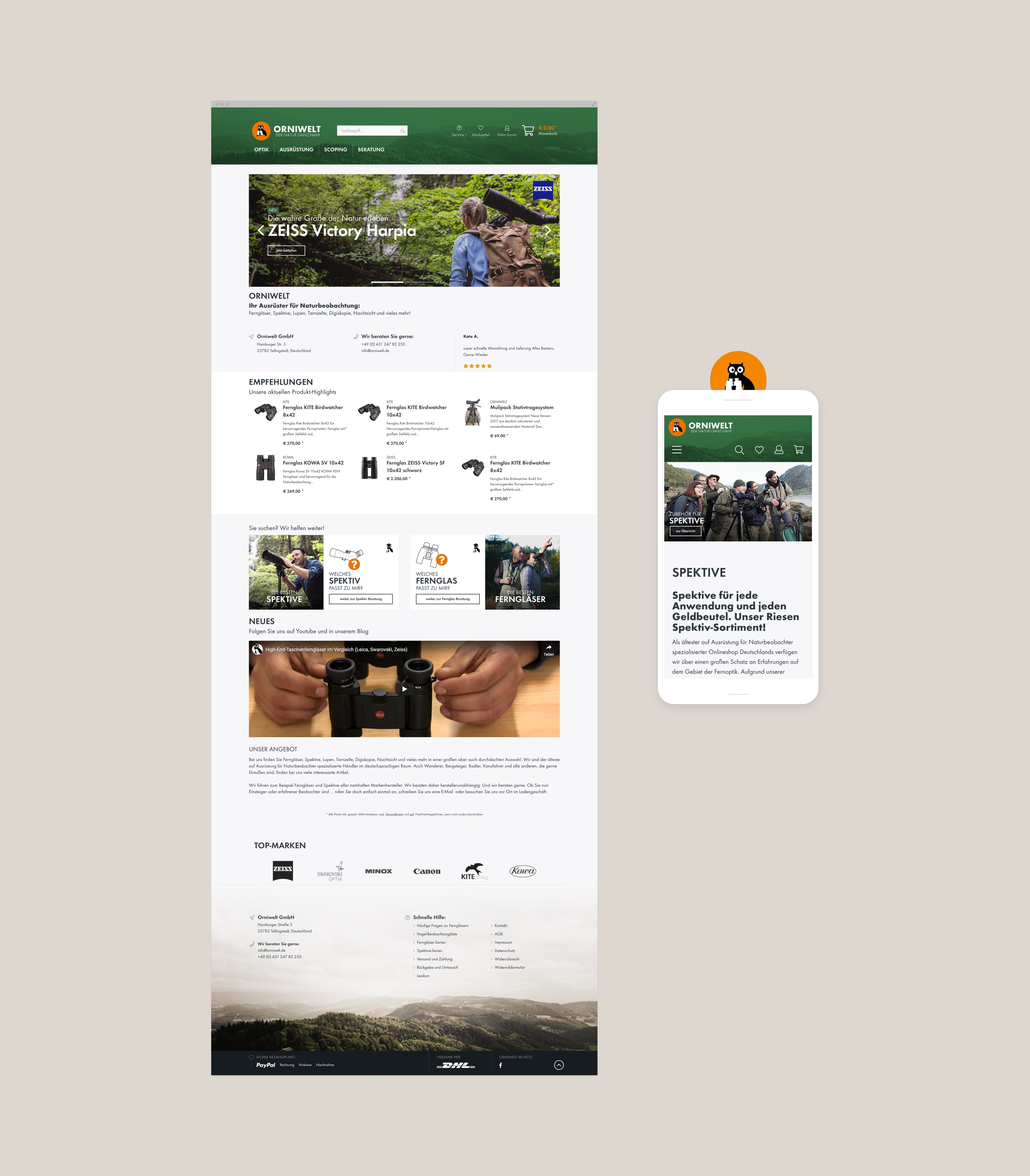 Screenshots des Orniwelt-Onlineshops mit Shopware