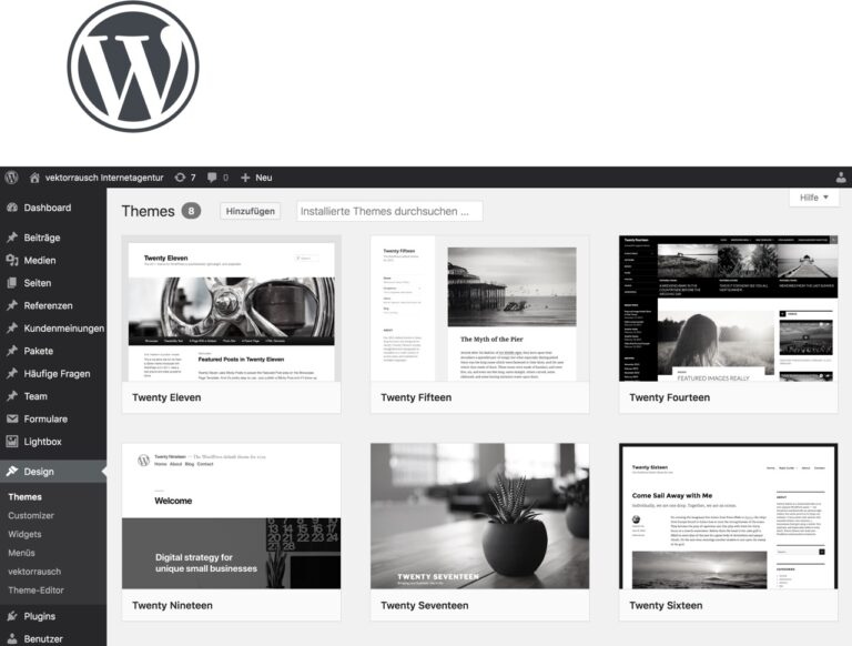 WordPress-Themes - Screenshot aus dem Redaktionsbereich