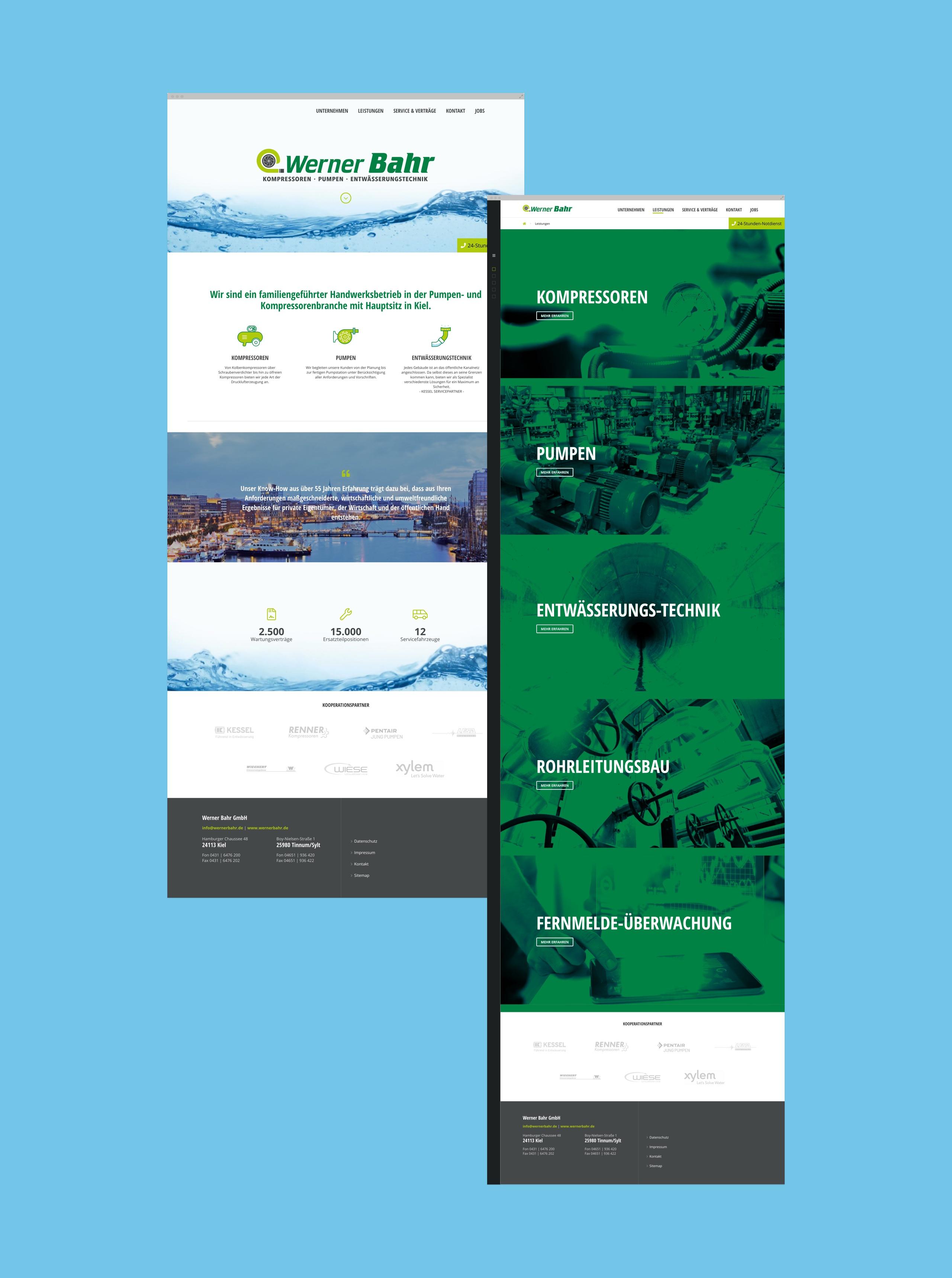 Screenshots der Webseite von Werner Bahr Kiel