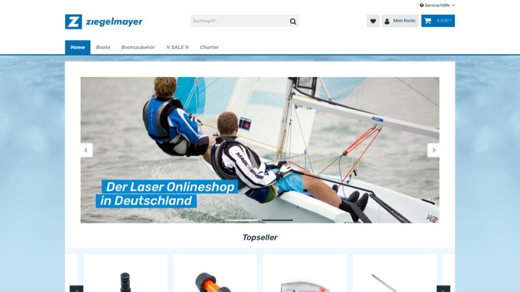 Screenshot des Ziegelmayer-Onlineshops mit Shopware