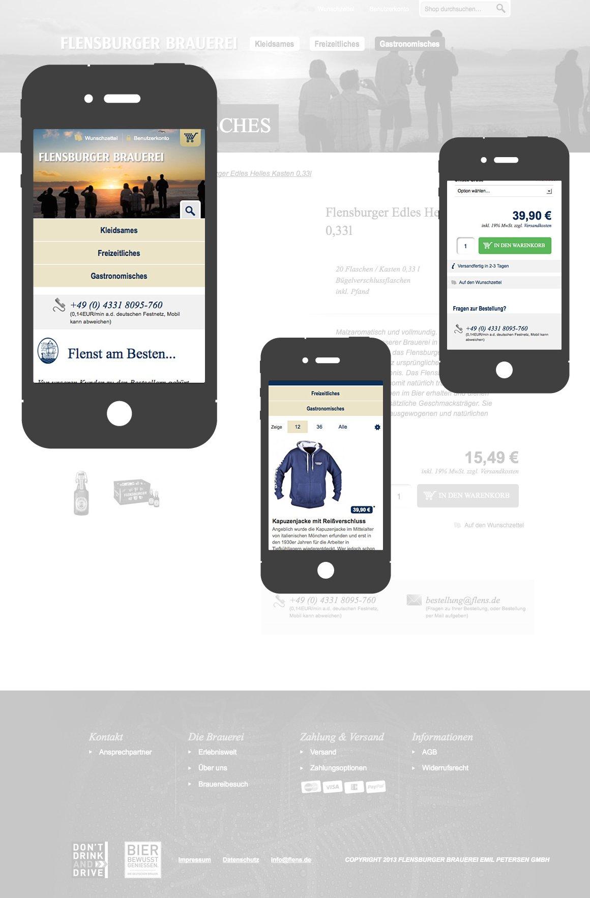 Flensburger Brauerei - Responsives Layout am Smartphone