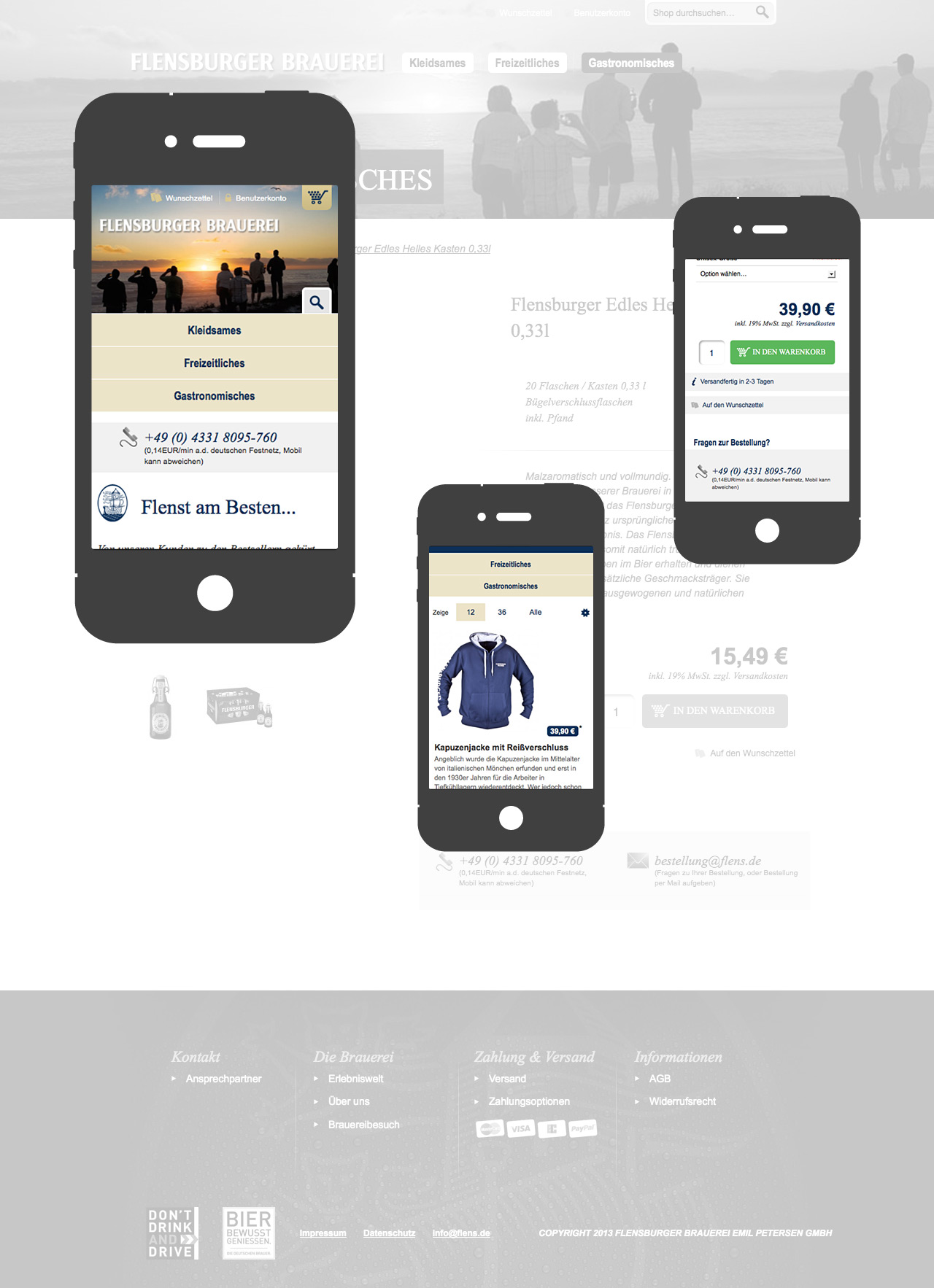 Flensburger Brauerei - Responsives Layout am Smartphone