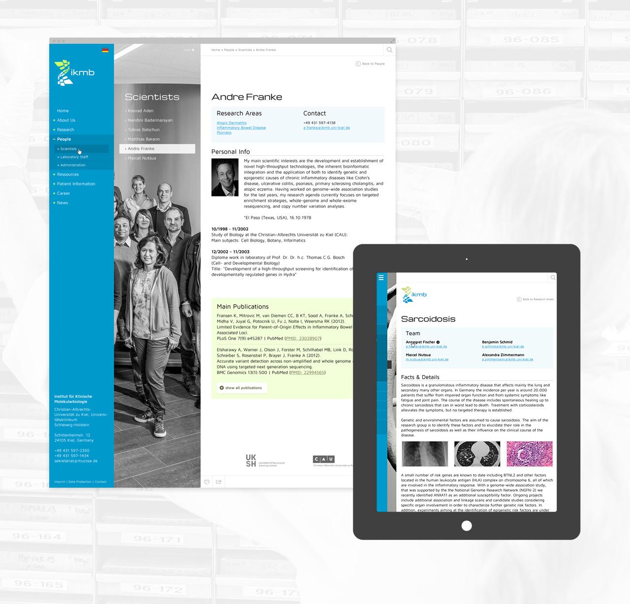 ikmb – Vergleich Desktop & Tablet mit Fokus auf die wissenschaftlichen Inhalte