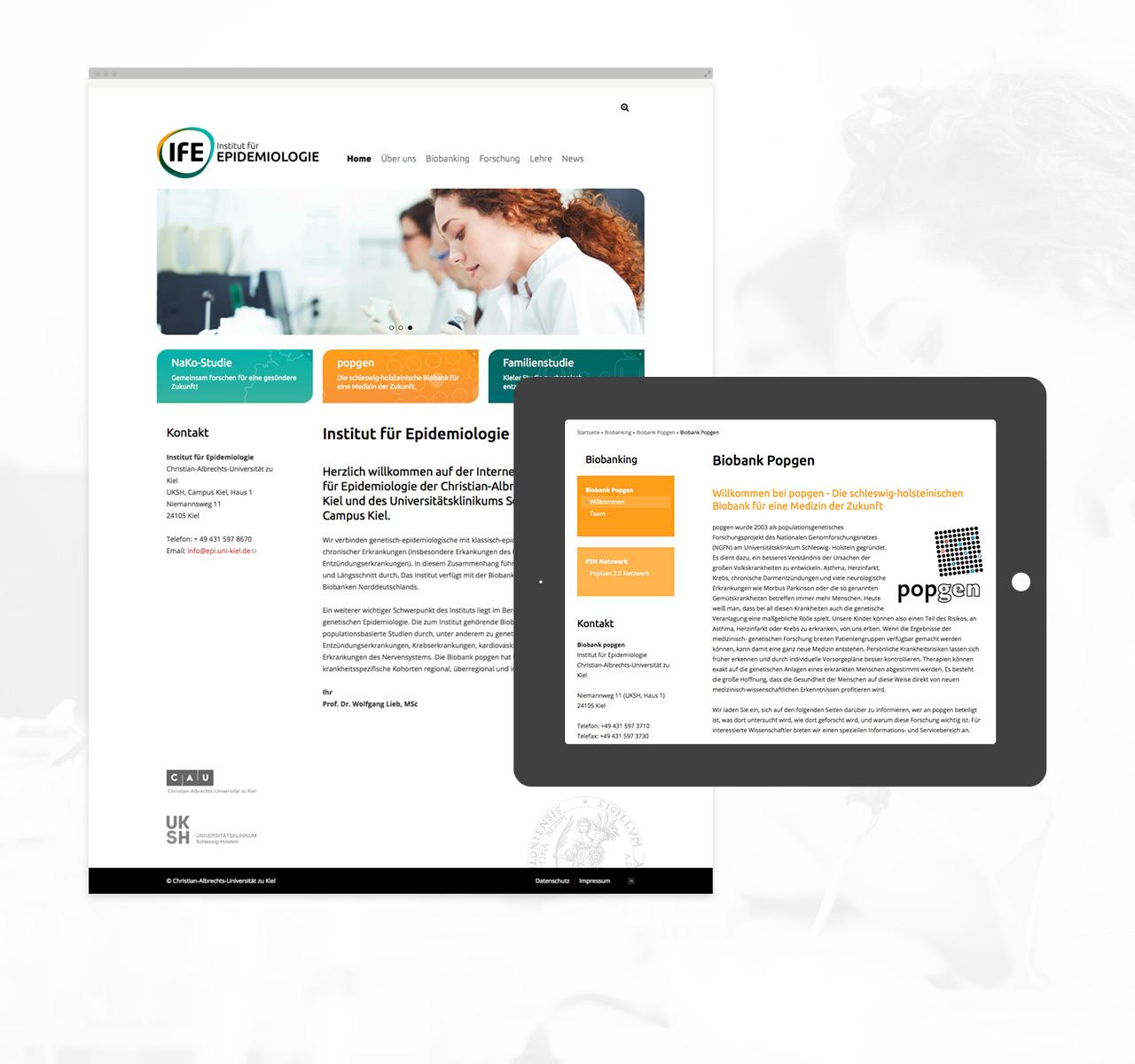 Institut für Epidemiologie - Inhalt im Fokus der Gestaltung
