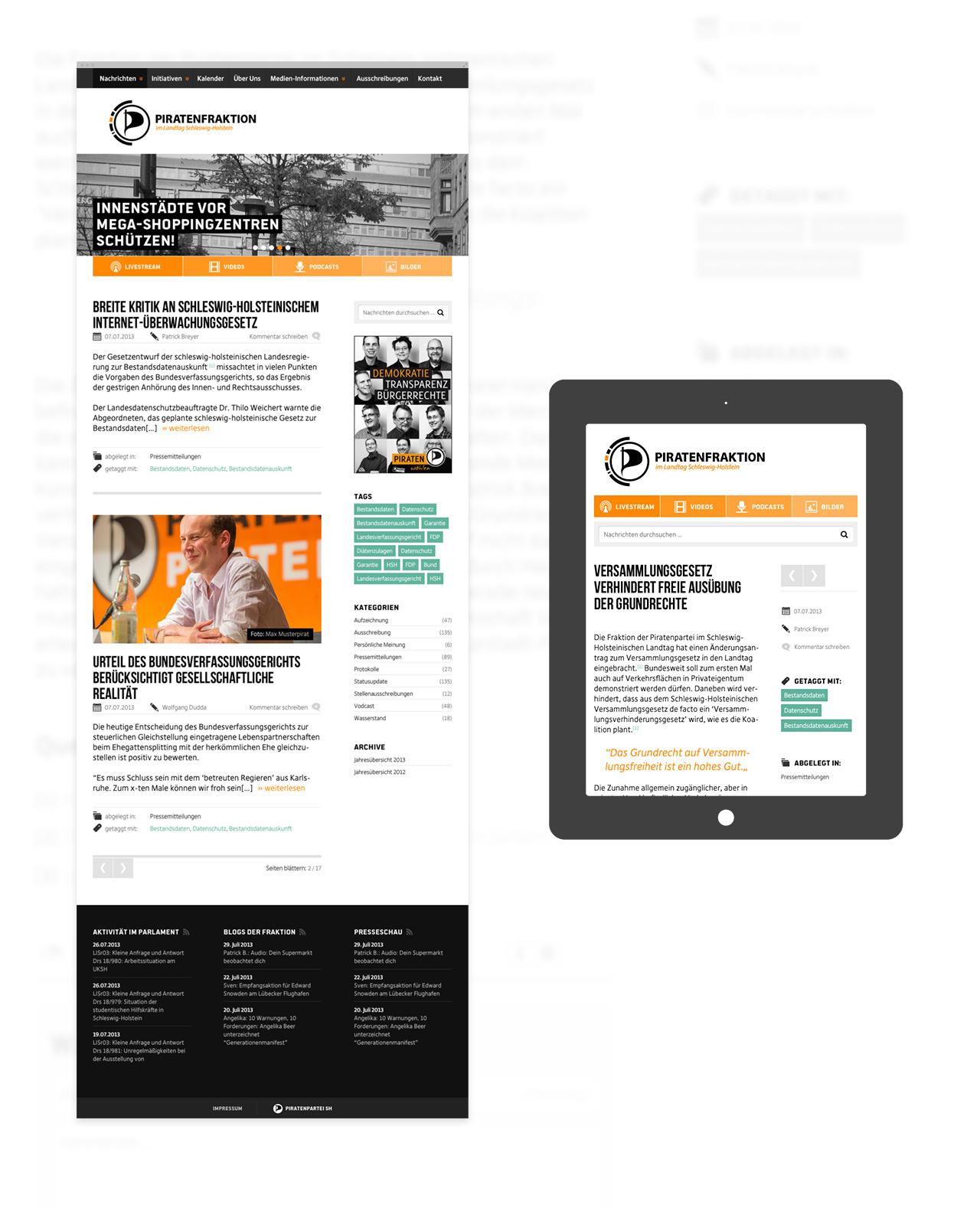 Piratenfraktion Schleswig Holstein – moderner Internetauftritt im responsive Layout