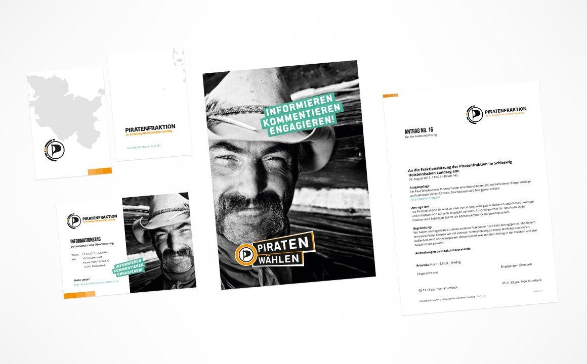Piratenfraktion Schleswig Holstein – Gestaltung der Geschäftsausstattung