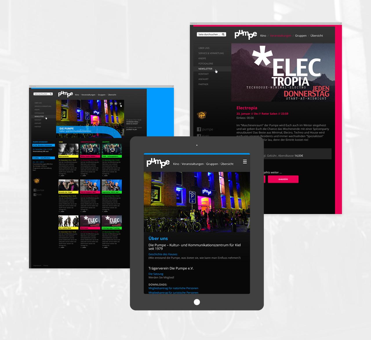 die pumpe Relaunch - Vergleich der Desktop- und Tabletansicht